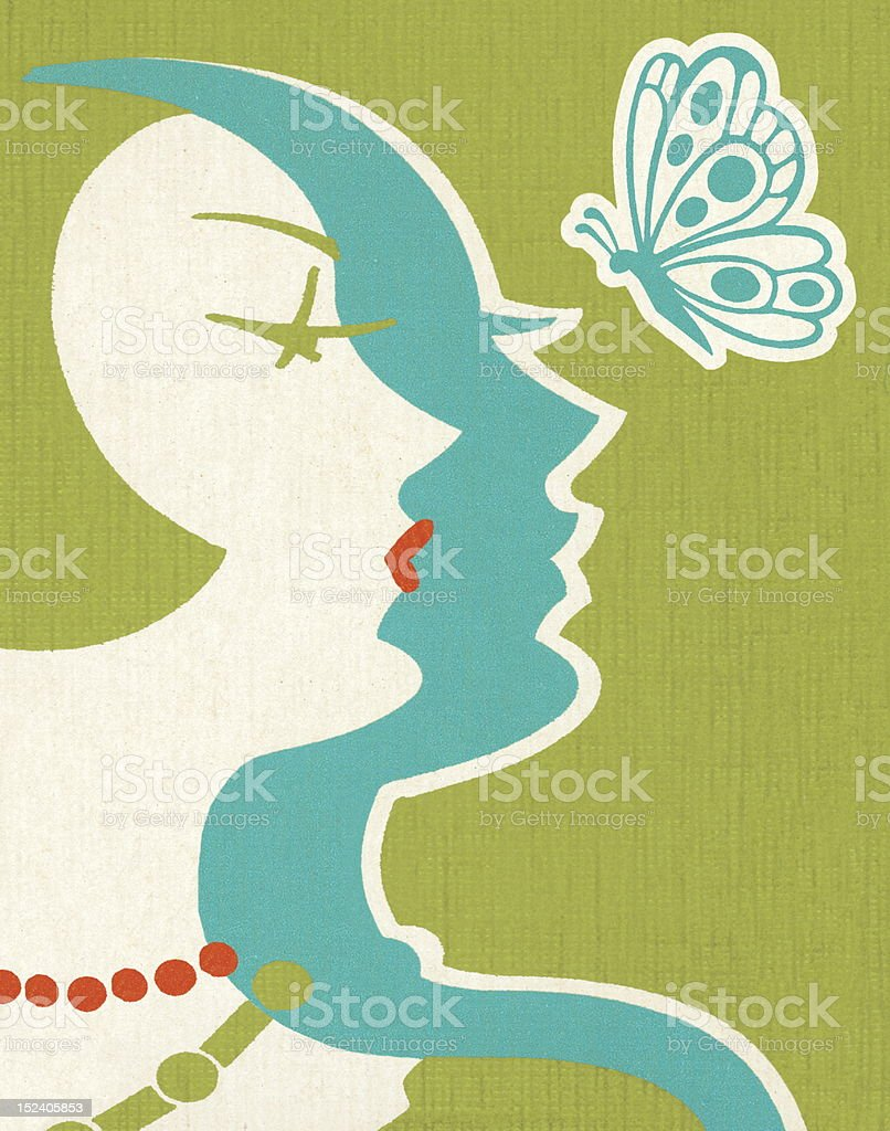 Art Deco Woman and Butterfly royalty-free stock vector art