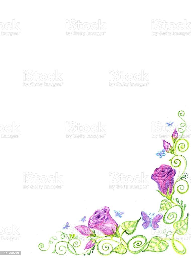 Arte cornice floreale, isolato sfondo. illustrazione royalty-free