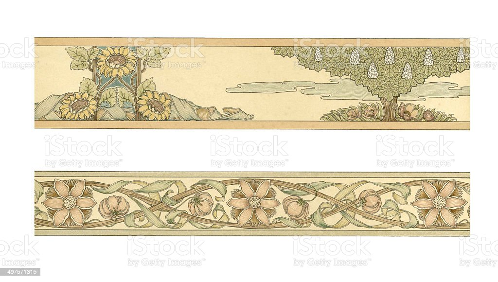 Art Noveau Floral Frame Work vector art illustration