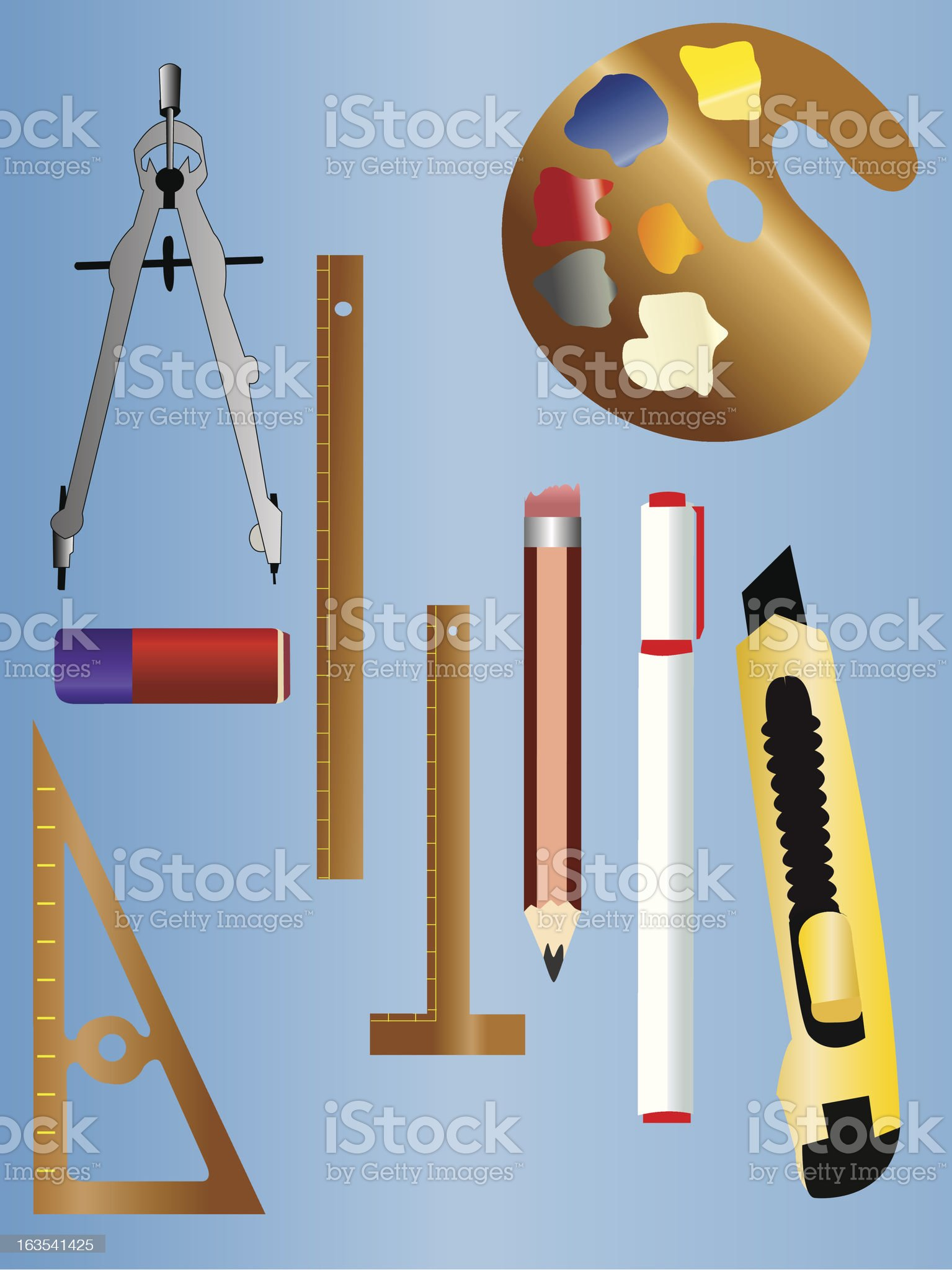 Art, school drawing tools royalty-free stock vector art