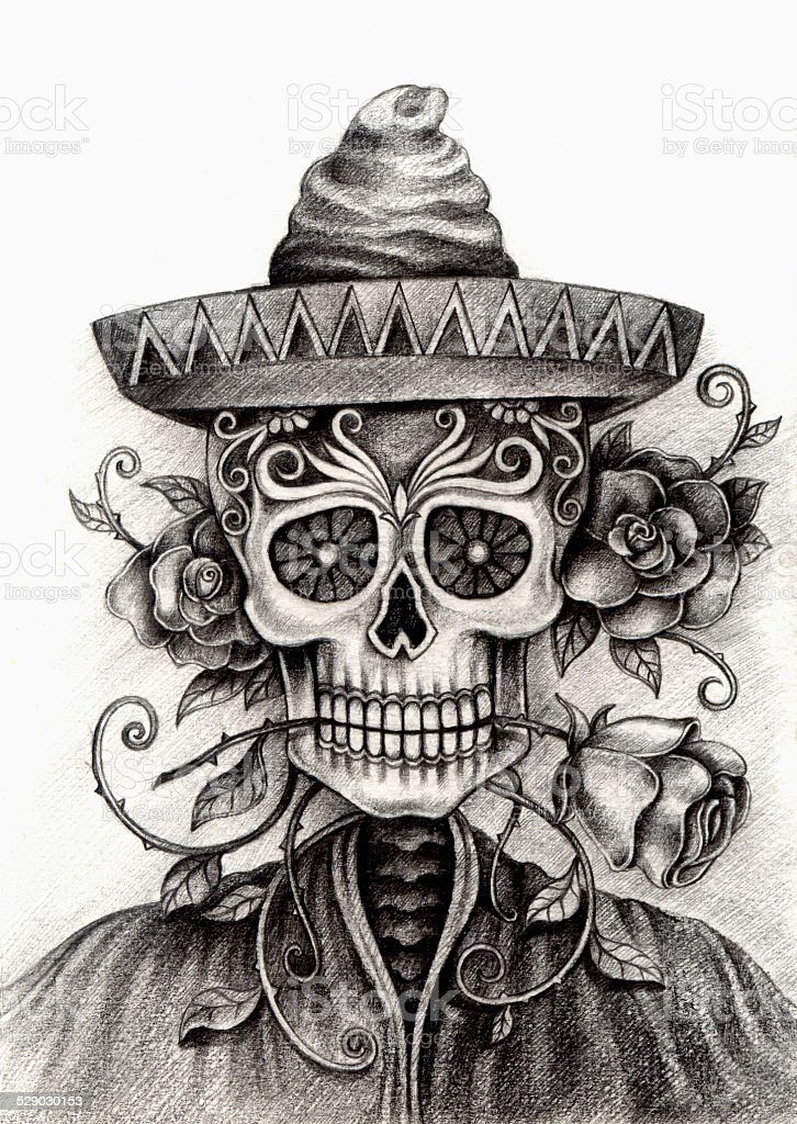 Art Skull Day of the dead. vector art illustration