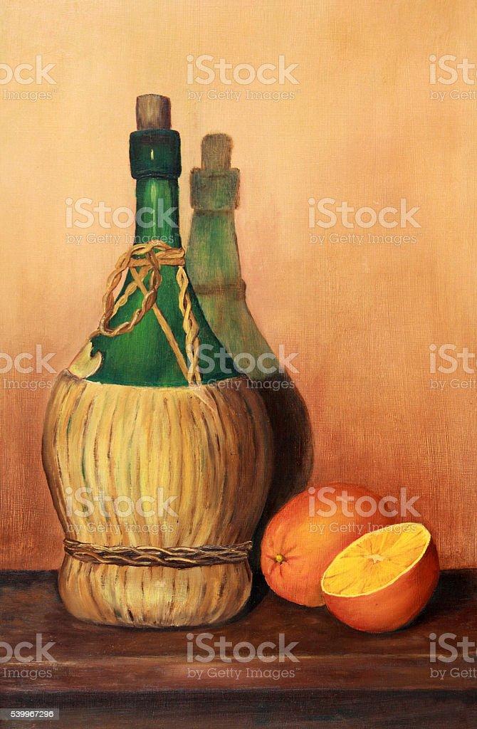 Art: Still life painting green wine bottle jug with oranges vector art illustration