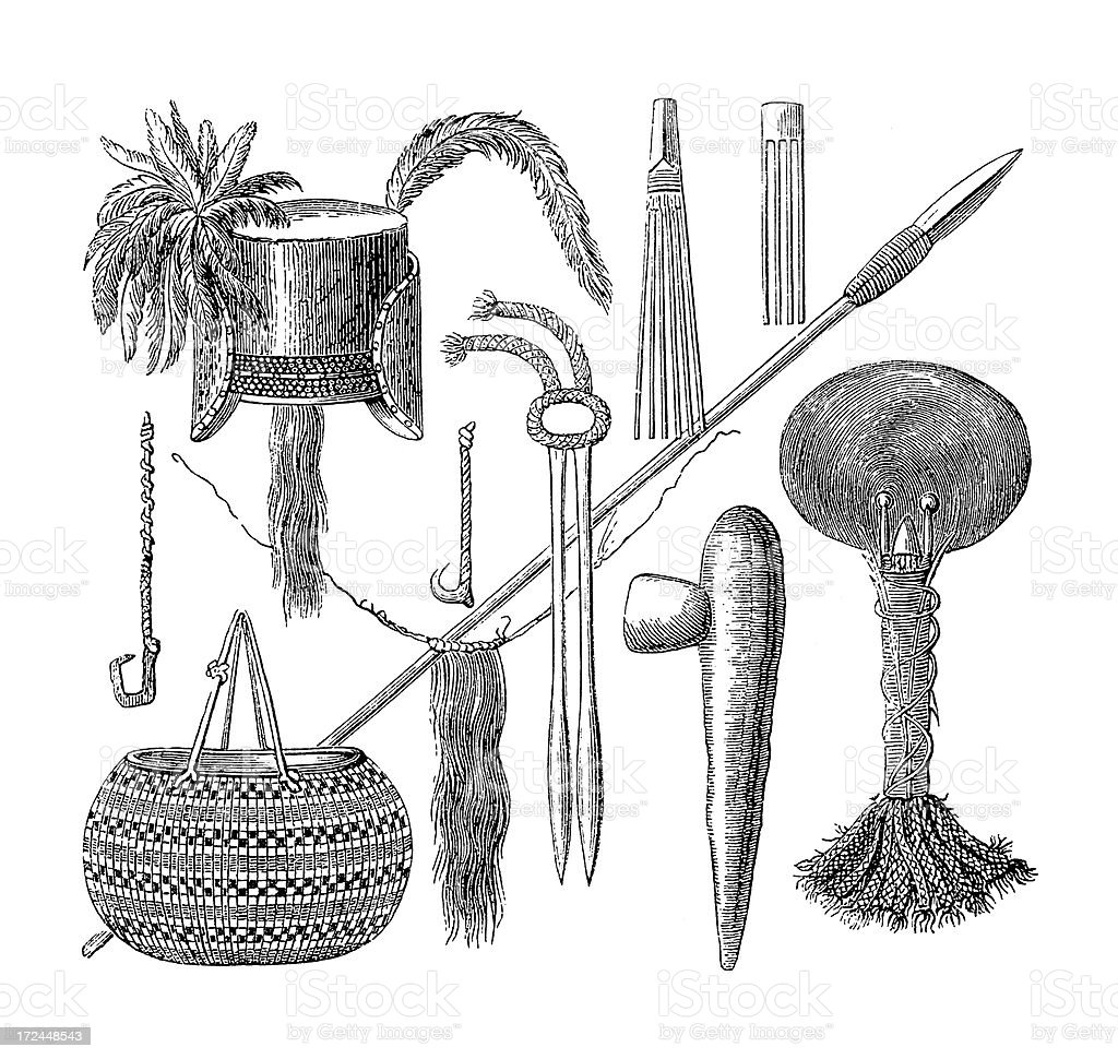 Artefacts from New Guinea (antique wood engraving) vector art illustration