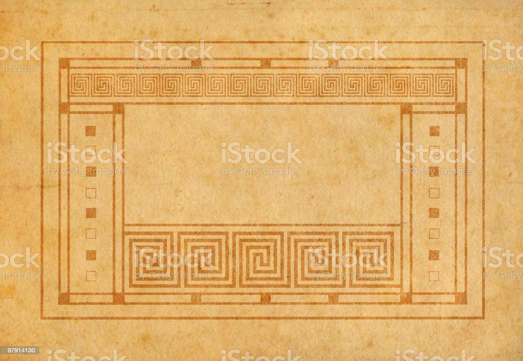 art-greco-deco framed old paper vector art illustration