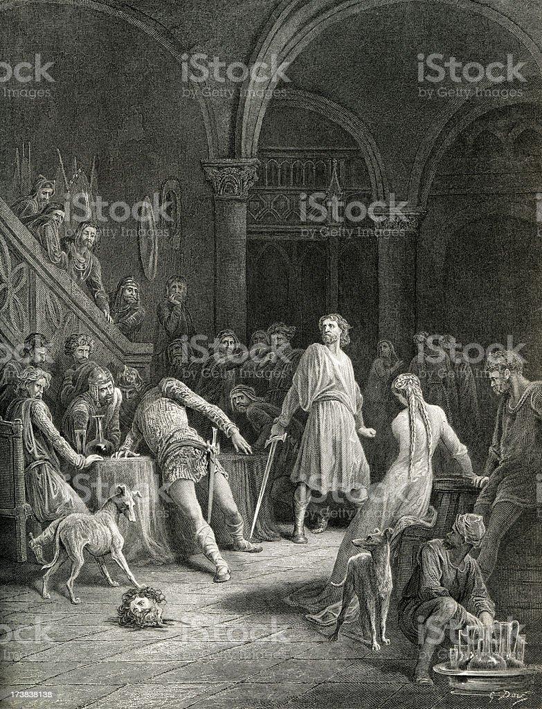 Arthurian legend Geraint Slays Earl Doorm royalty-free stock vector art
