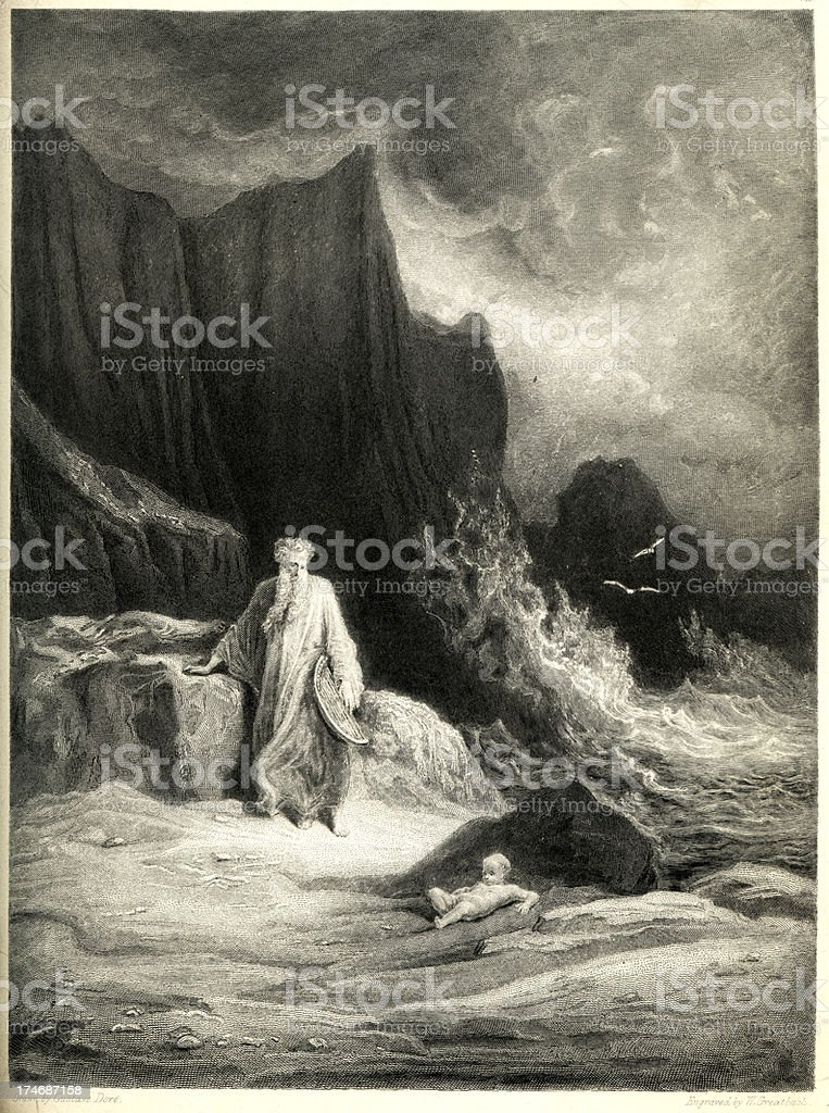 Arthurian legend Merlin finding King Arthur vector art illustration