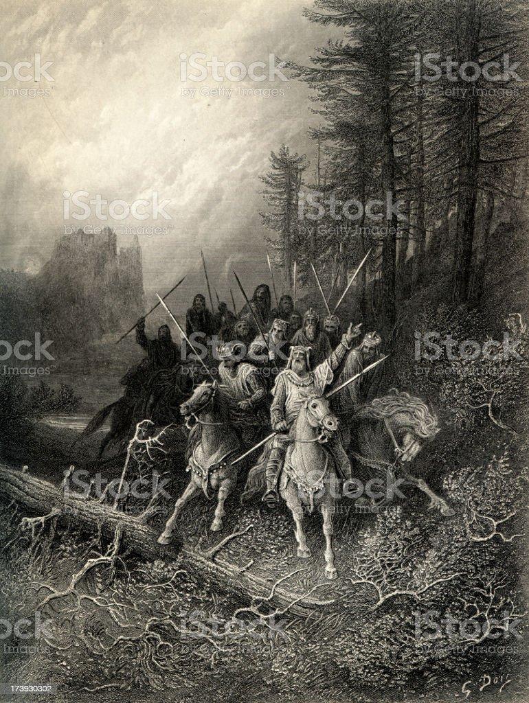 Arthurian legend The Knight's Progress vector art illustration