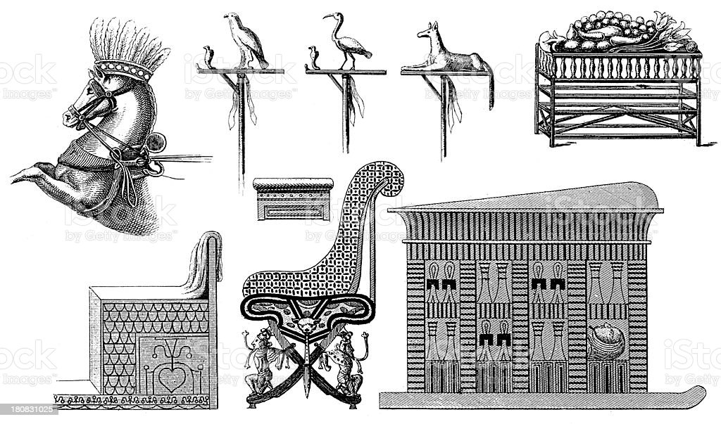 Artifacts from Ancient Egypt (antique wood engraving) royalty-free stock vector art