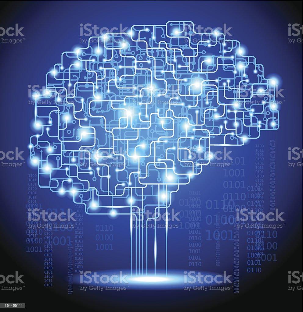 Artifical Intelligence brain royalty-free stock vector art