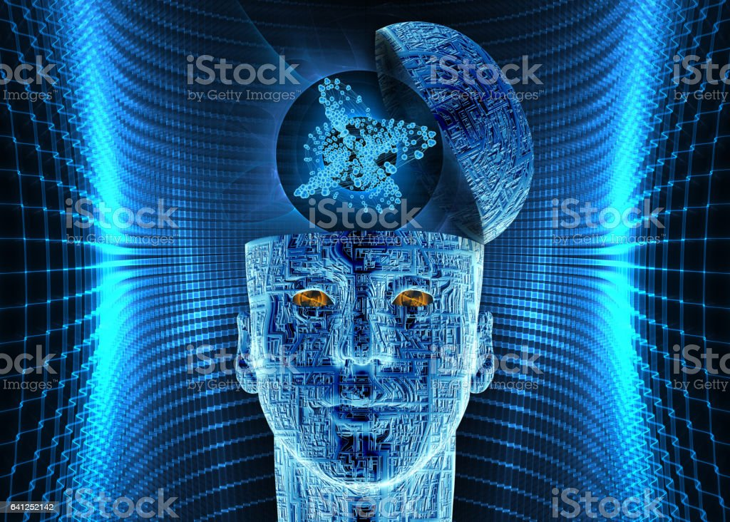artificial intelligence, futuristic composition vector art illustration