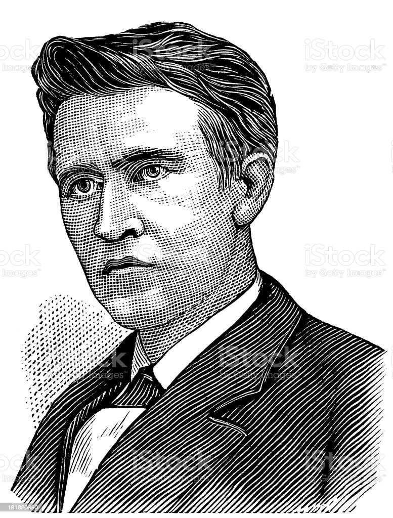 Artist black and white drawing of Thomas Edison  royalty-free stock vector art
