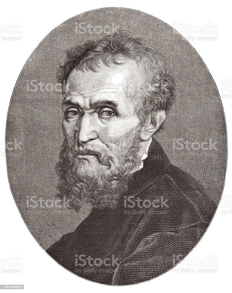 Artist Michelangelo Buonarotti engraving from 1877 vector art illustration