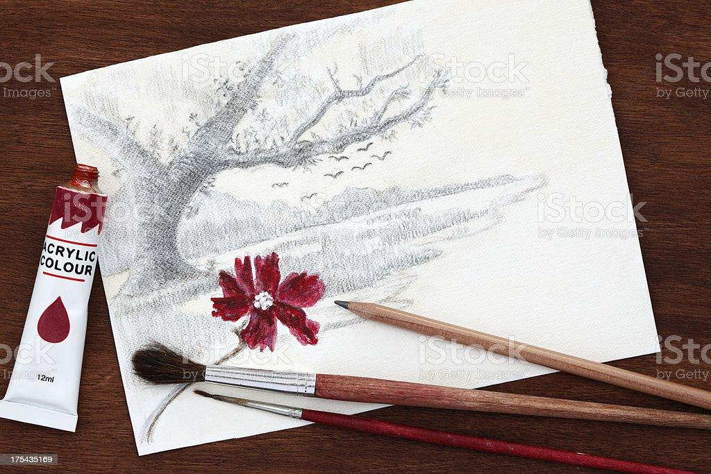 Artist work vector art illustration