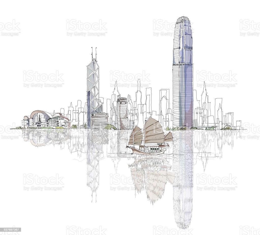 Artistic sketch of Hong Kong bay vector art illustration