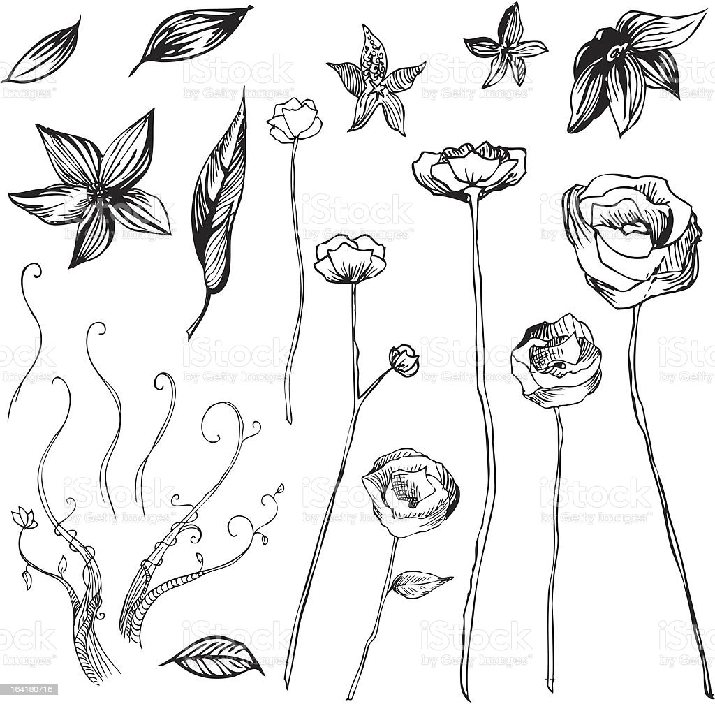 Artsy Flowers vector art illustration