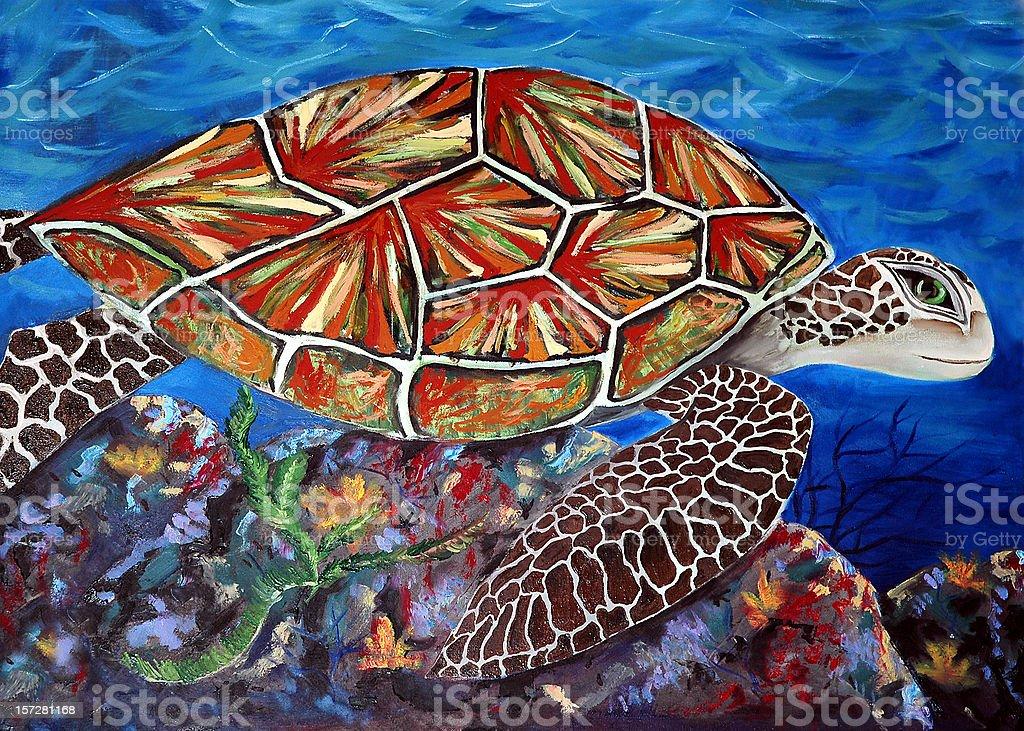 Artwork - Hawaiian Sea Turtle royalty-free stock vector art