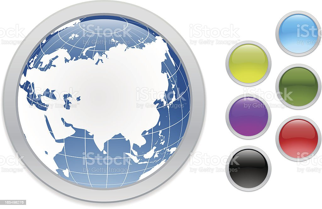 Asia Web Buttons vector art illustration