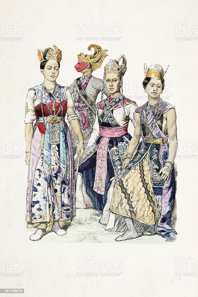 Asian actors from Java in traditional clothing arround 1870 royalty-free stock vector art