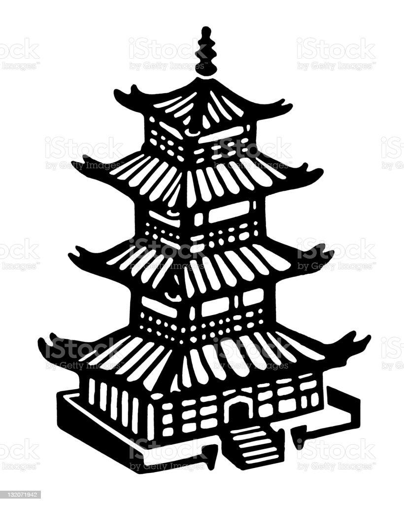 Asian Building vector art illustration