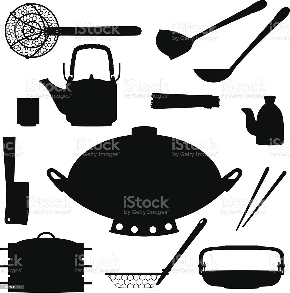 Asian Cookware Silhouettes royalty-free stock vector art