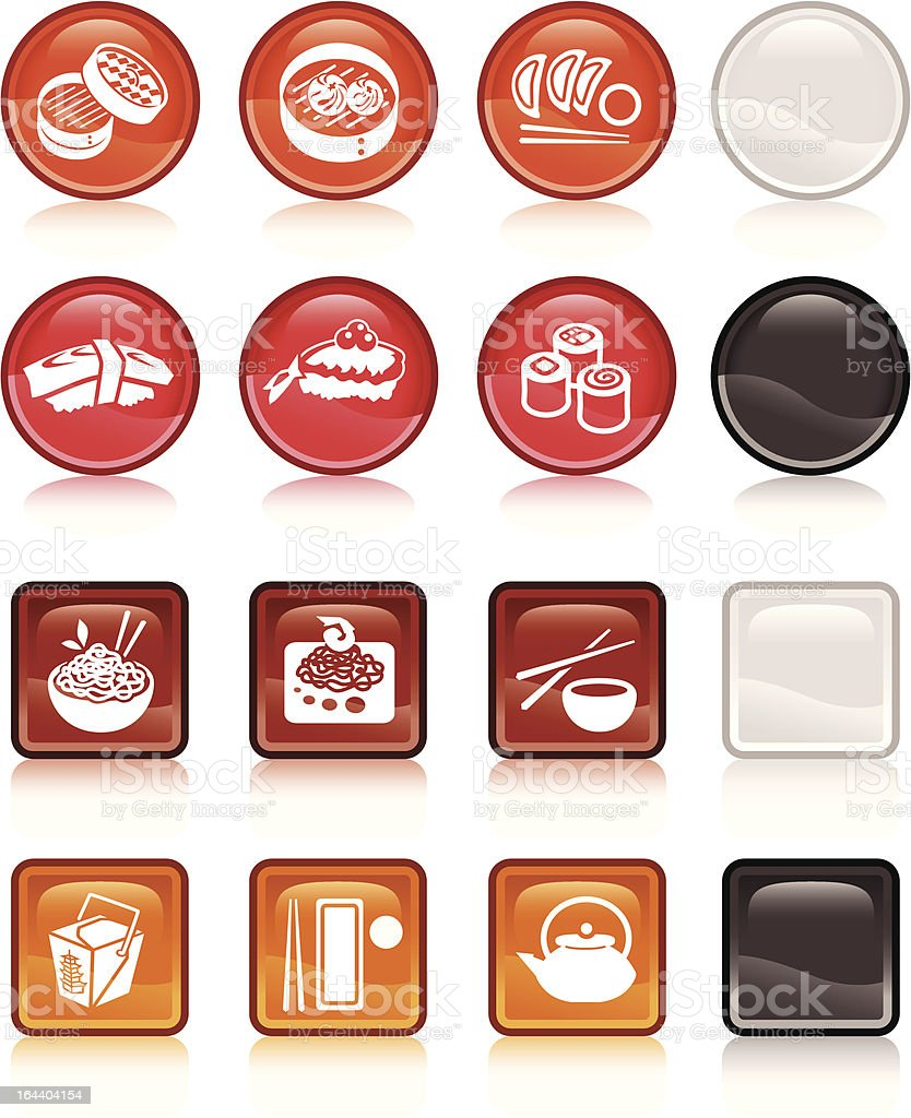 Asian cuisine icon candy buttons royalty-free stock vector art