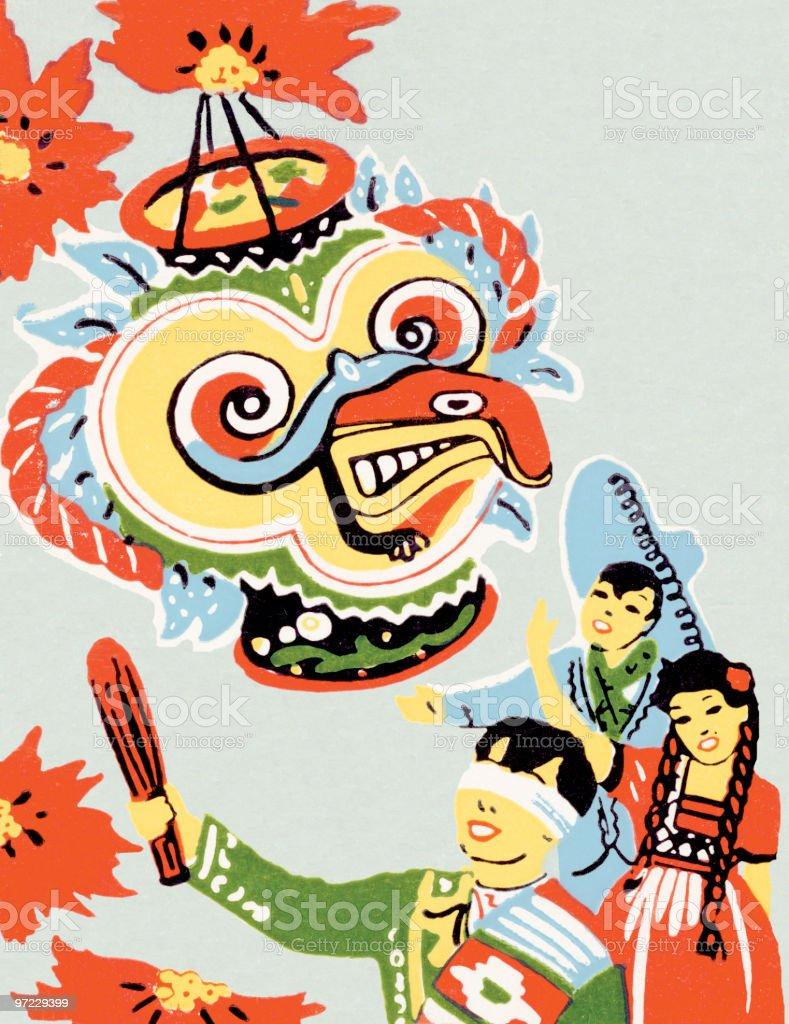 Asian parade vector art illustration