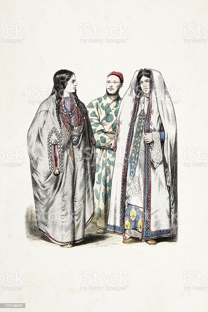 Asian people with traditional clothing from 19th century vector art illustration
