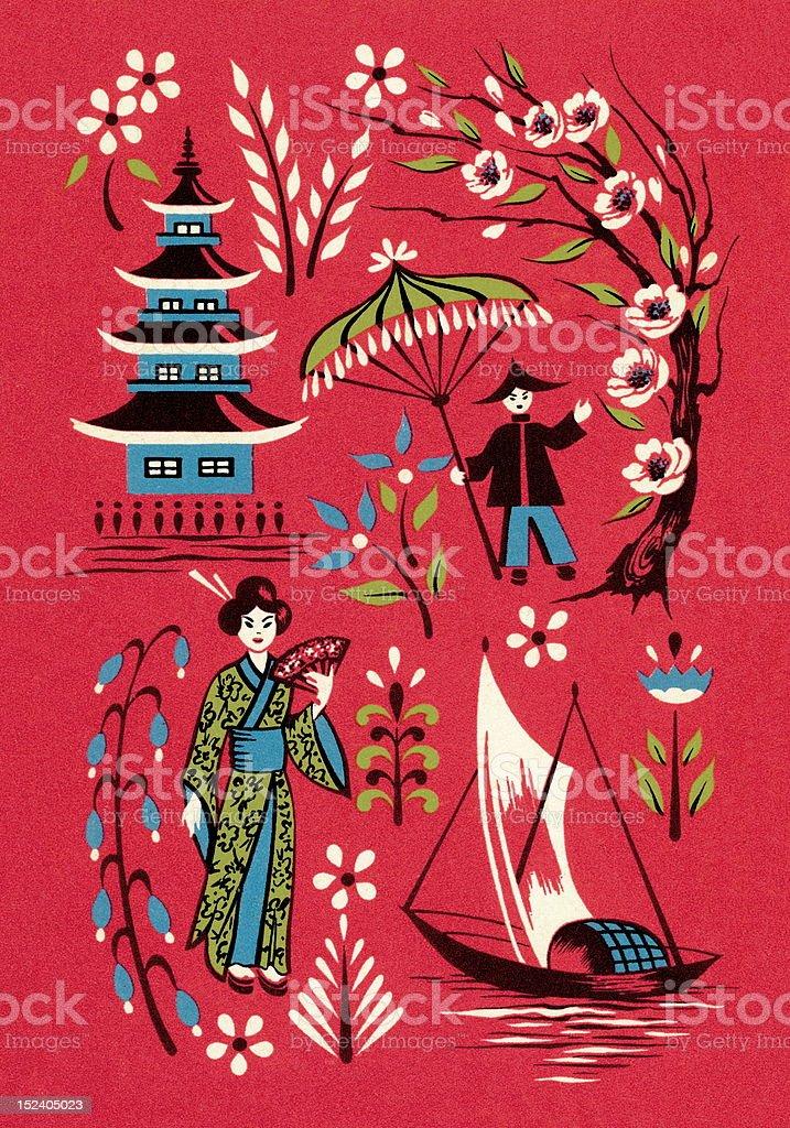Asian Scene royalty-free stock vector art