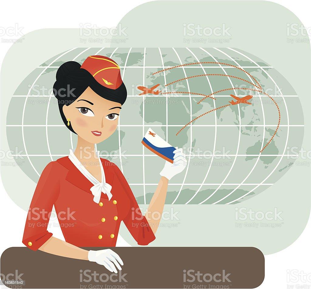 Asian stewardess royalty-free stock vector art
