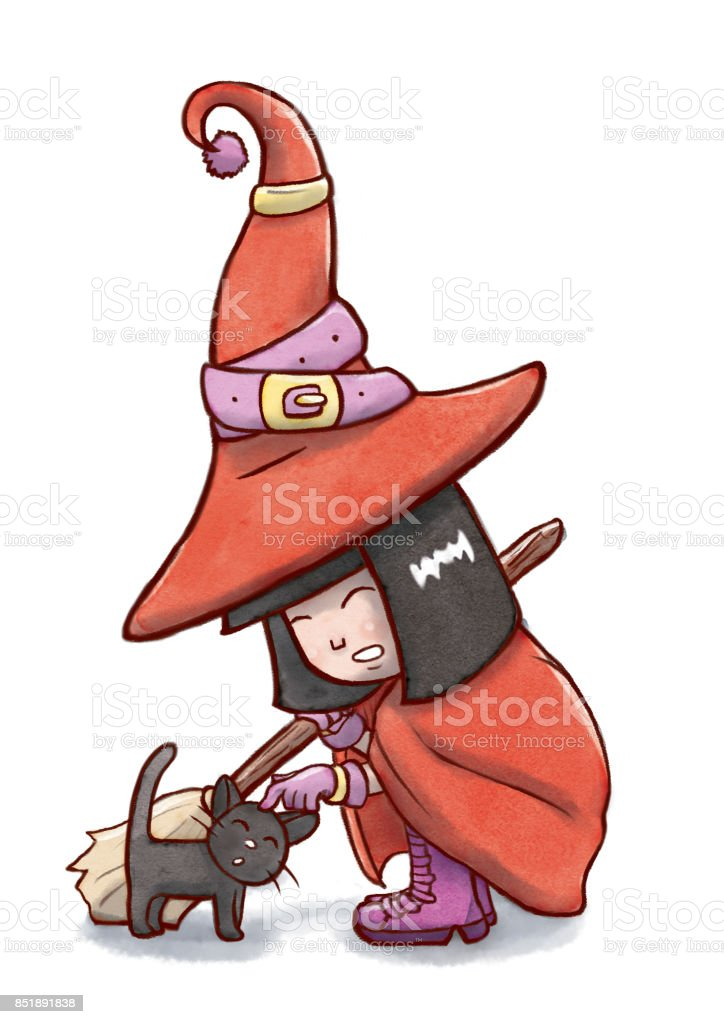 Asian Witch Playing with a Black Cat vector art illustration