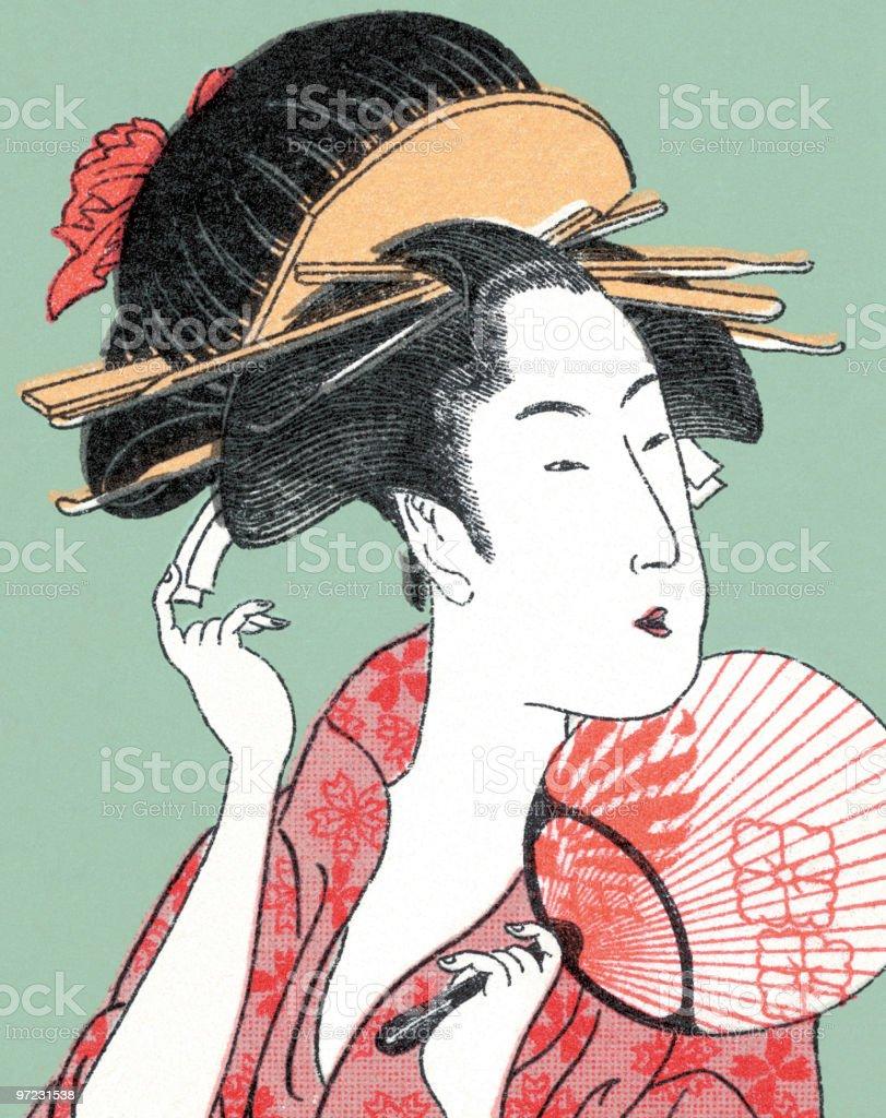 Asian woman vector art illustration