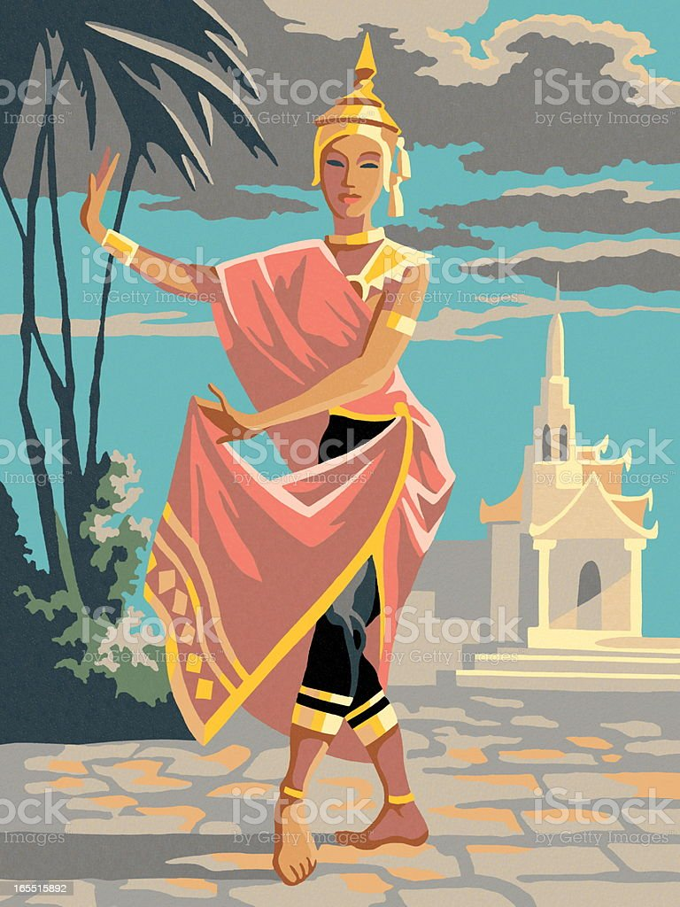 Asian Woman in Costume vector art illustration