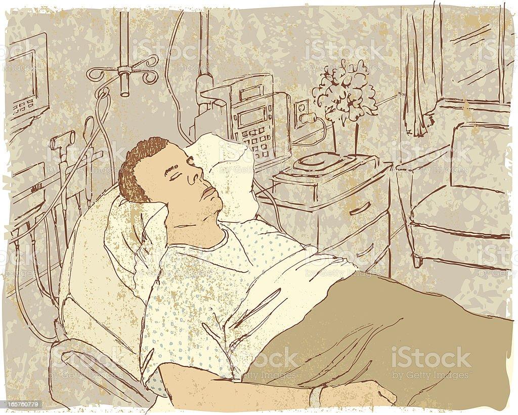 Asleep in a Hospital Room royalty-free stock vector art