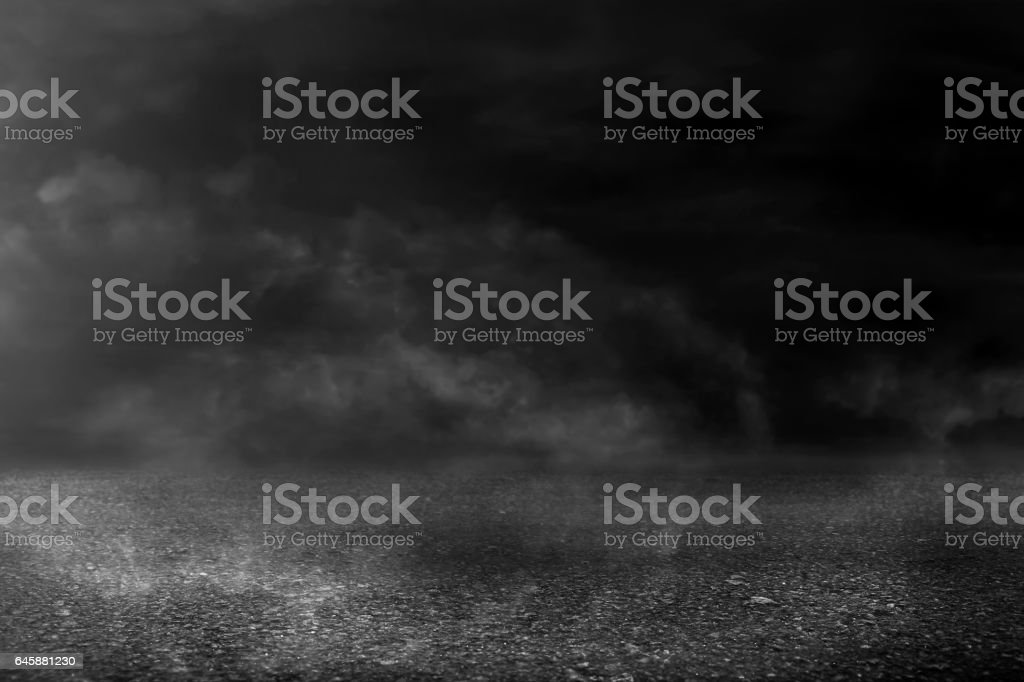 Asphalt texture background with smoke vector art illustration
