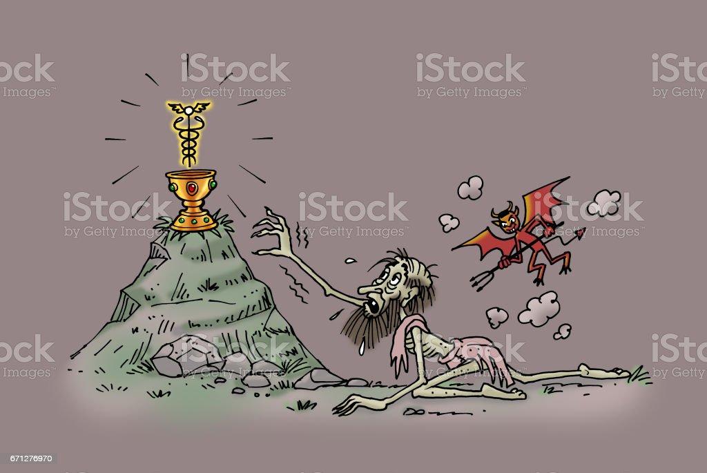 Aspiring to the Grail of Eternal Life vector art illustration