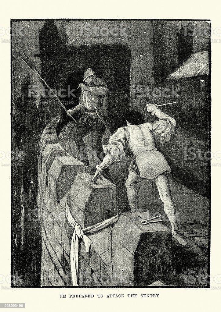 Assassin attacking a guard vector art illustration