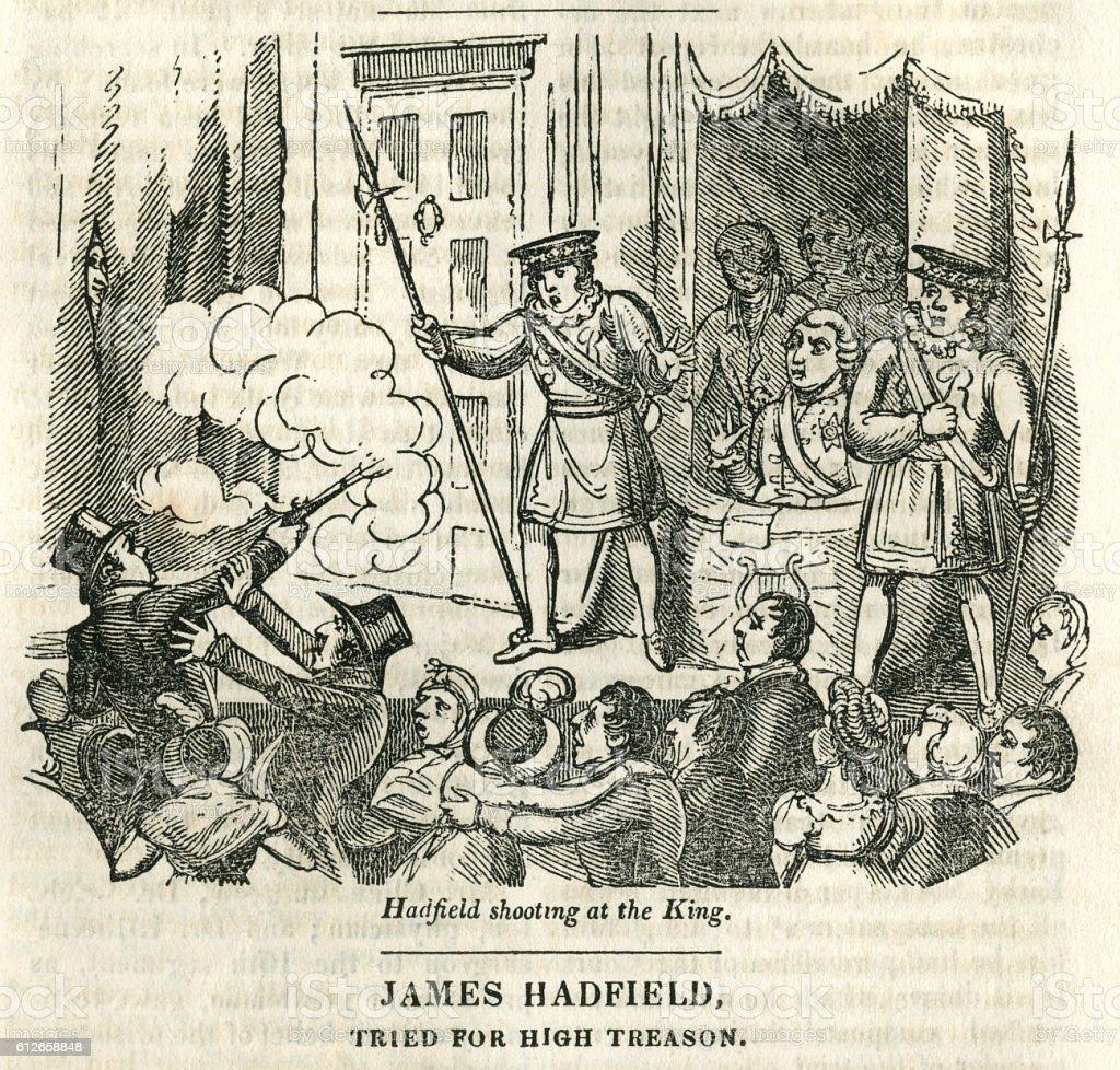 Assassination attempt on King George III vector art illustration