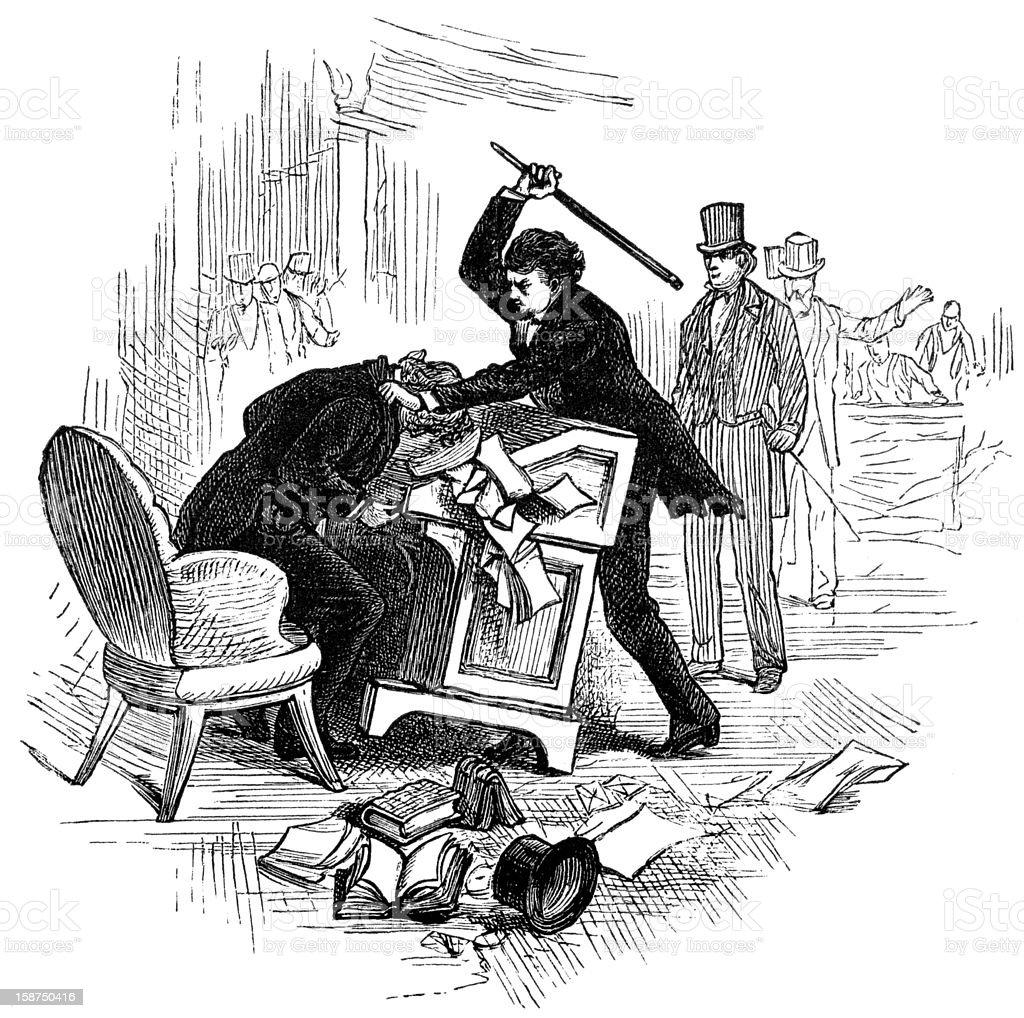 Assault of senator Sumner, by P. S. Brooks royalty-free stock vector art