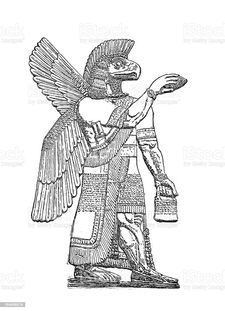 Asshur Chief of all gods -Assyrians Engraving 19th Century royalty-free stock vector art