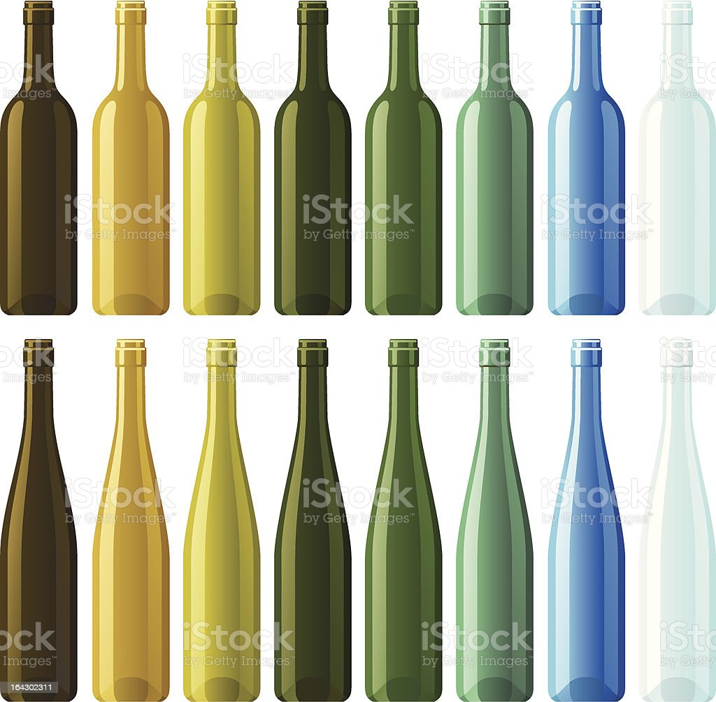 Assorted empty wine bottles royalty-free stock vector art