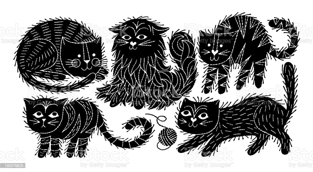 Assorted Furry Cats royalty-free stock vector art