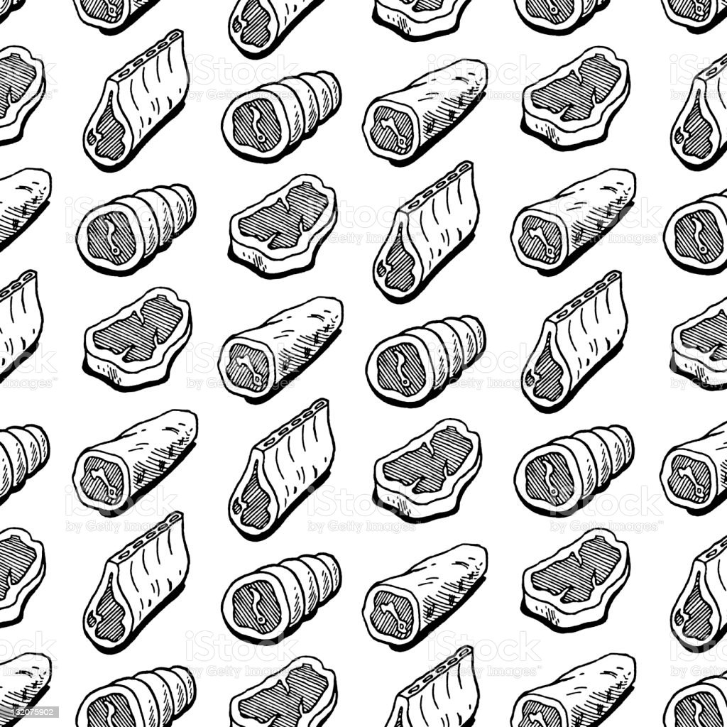Assorted Meats Pattern vector art illustration