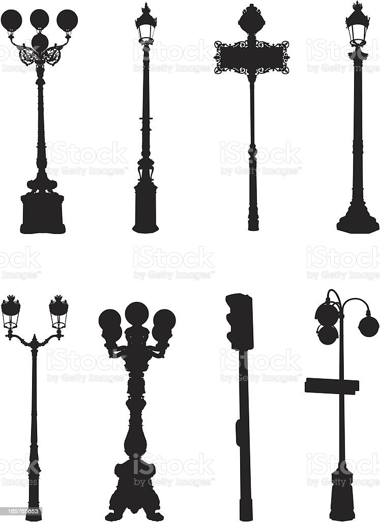 Assorted street light silhouettes royalty-free stock vector art