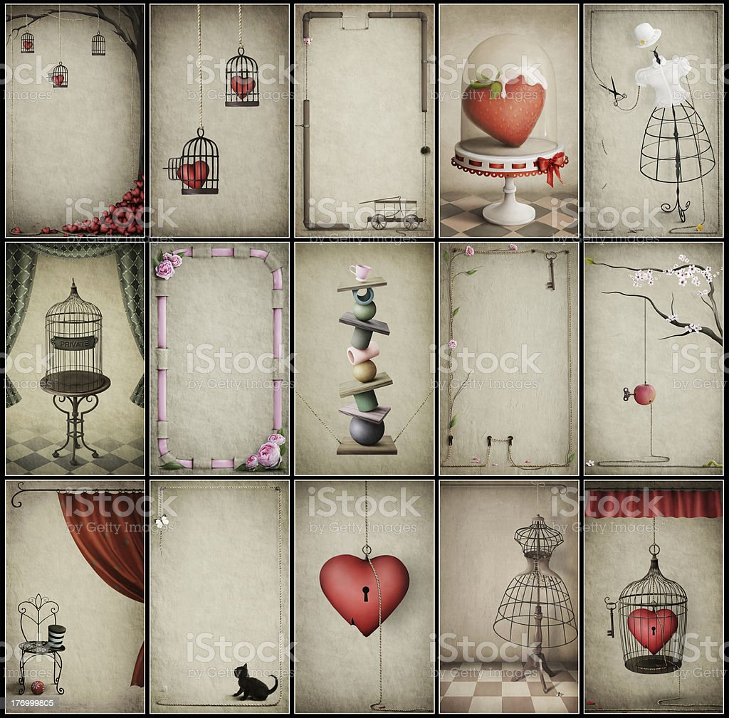 Assorted vintage backgrounds royalty-free stock vector art