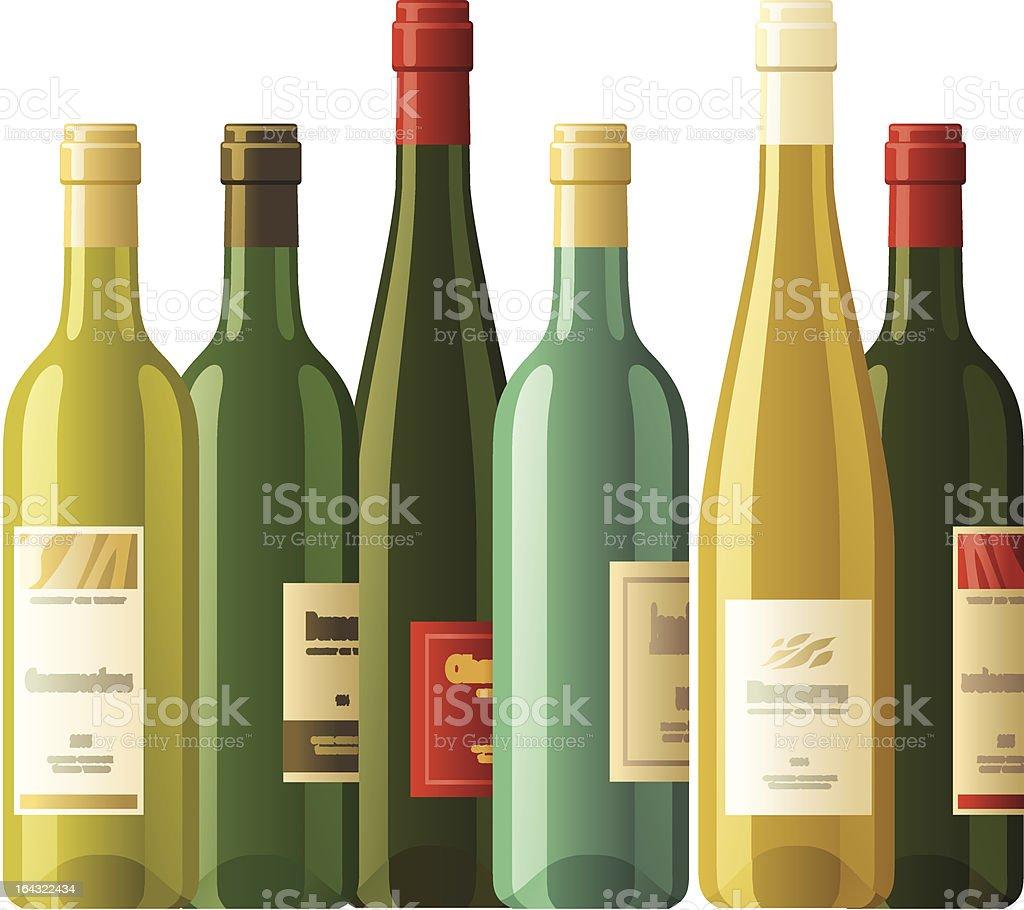 Assorted wine bottles vector art illustration