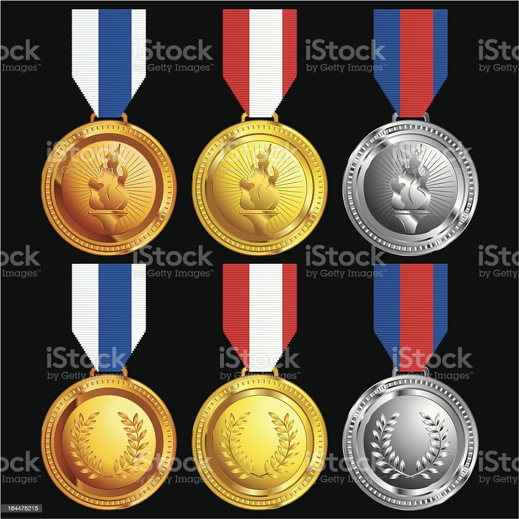 assortment of medal awards with ribbons royalty-free stock vector art