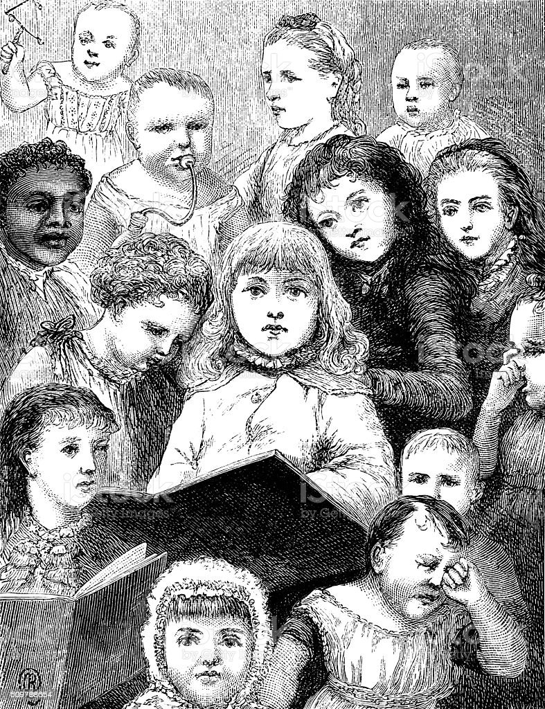 Assortment of Victorian children vector art illustration