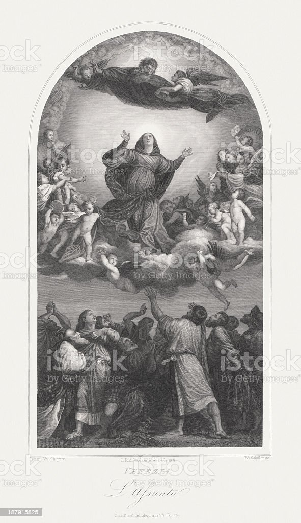 Assumption of the Virgin, by Titian, steel engraving, published 1860 royalty-free stock vector art