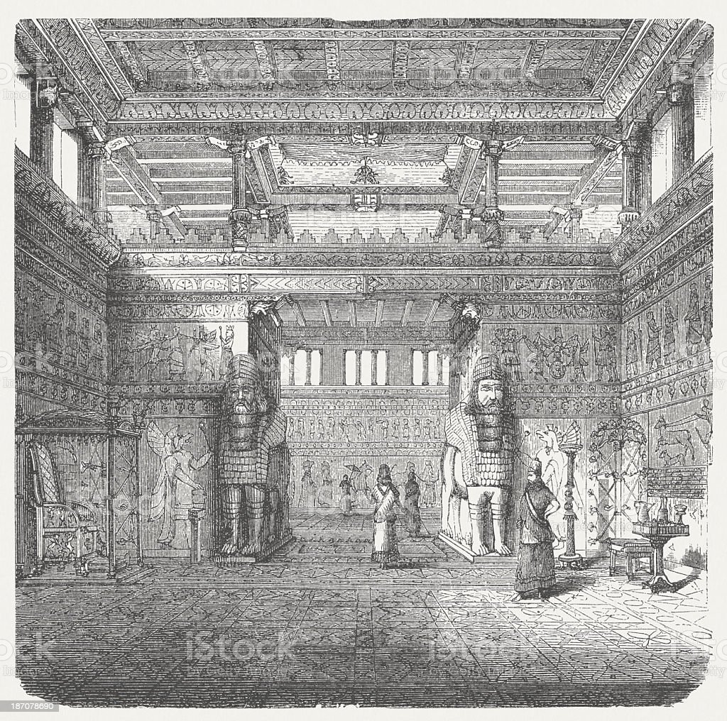 Assyrian throne room, wood engraving, published in n1876 royalty-free stock vector art