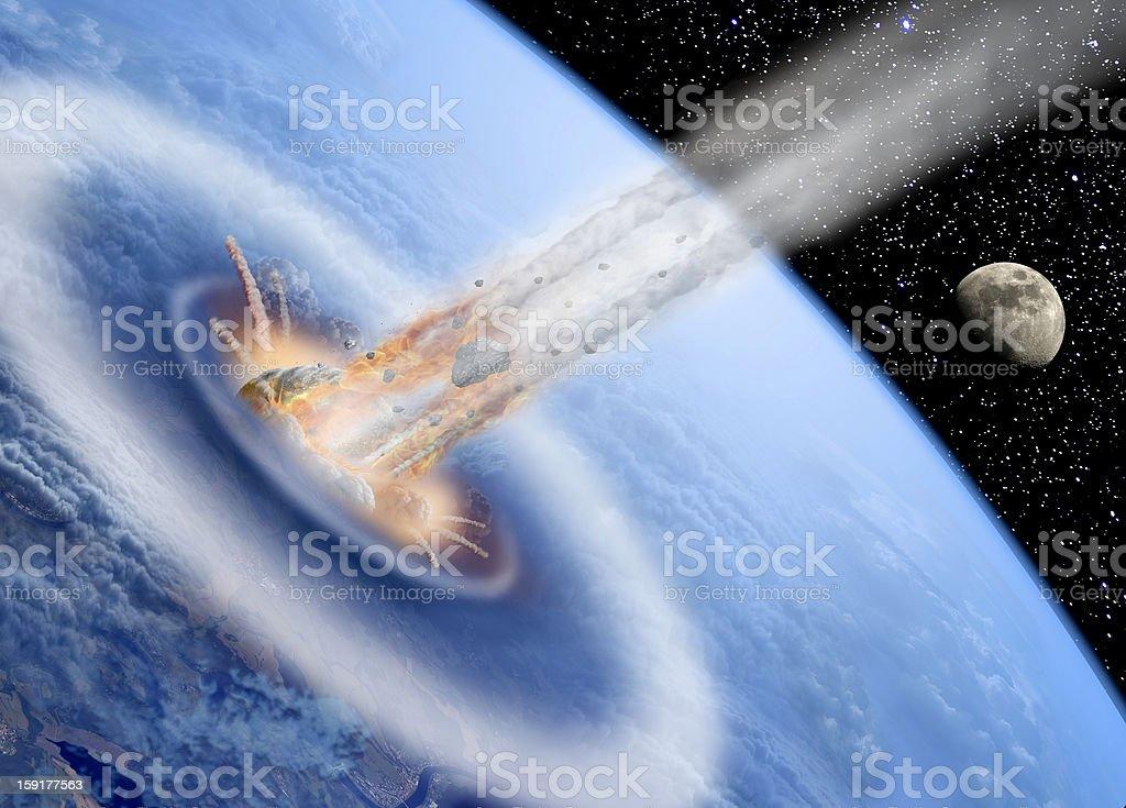 Asteroid hits Earth vector art illustration